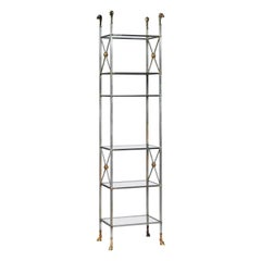 Neoclassical Style Steel and Brass Étagère Shelf by Jansen