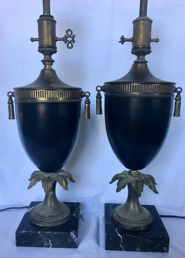 Neoclassical Style Tassel Brass and Marble Urn Table Lamps, Pair In Good Condition For Sale In Lambertville, NJ