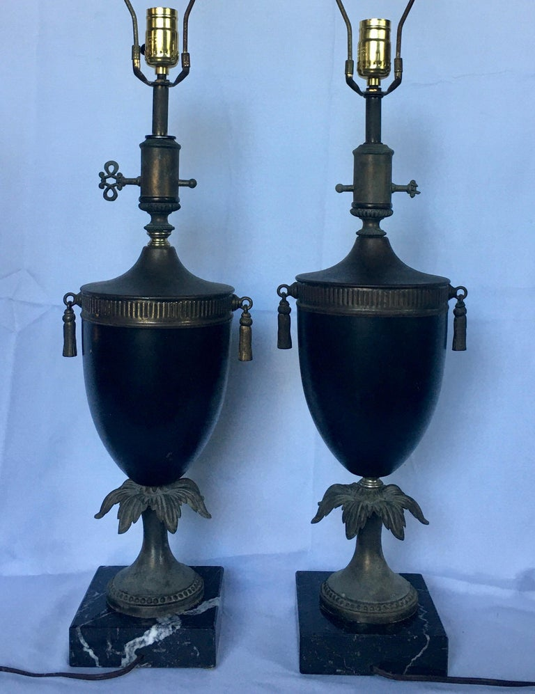 Metal Neoclassical Style Tassel Brass and Marble Urn Table Lamps, Pair For Sale