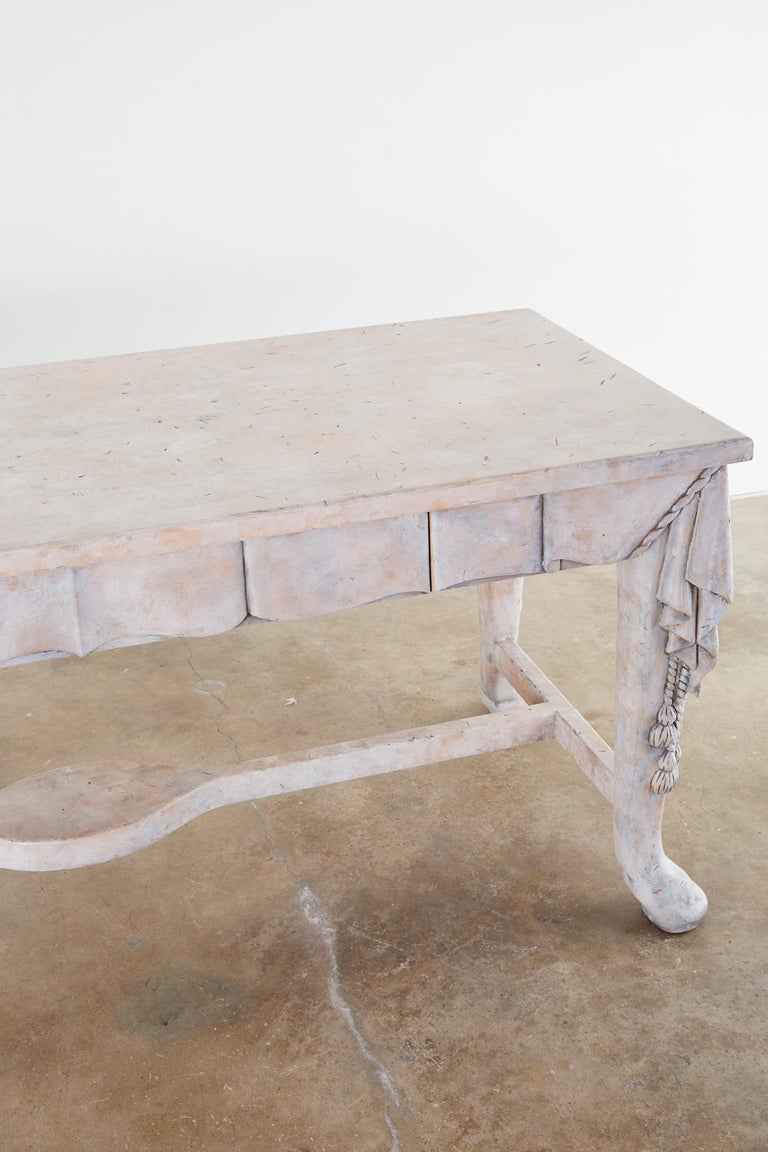 Neoclassical Style Trompe l'oeil Draped Library Table Desk For Sale 3