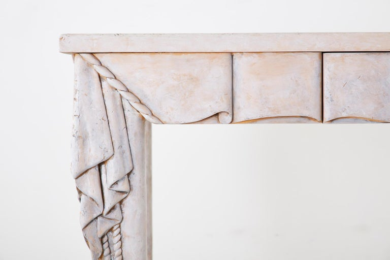 Neoclassical Style Trompe l'oeil Draped Library Table Desk For Sale 4