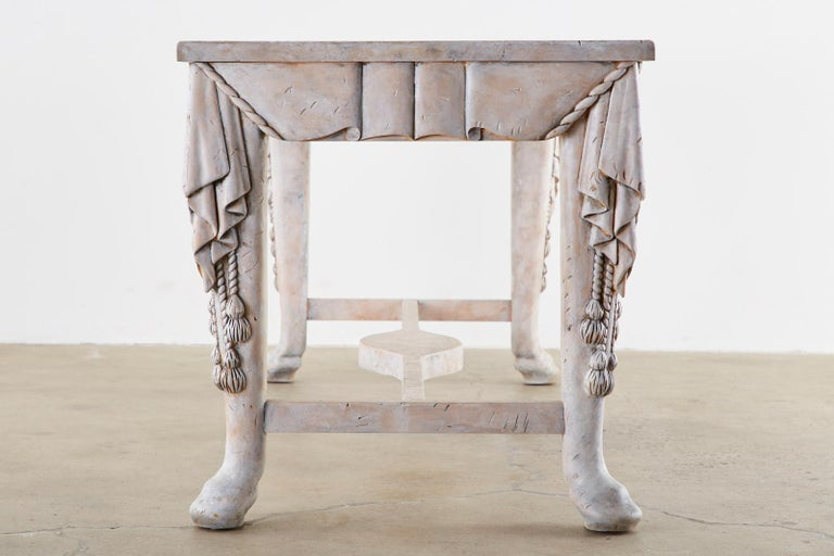 Neoclassical Style Trompe l'oeil Draped Library Table Desk In Good Condition For Sale In Oakland, CA