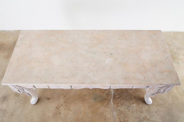 Wood Neoclassical Style Trompe l'oeil Draped Library Table Desk For Sale