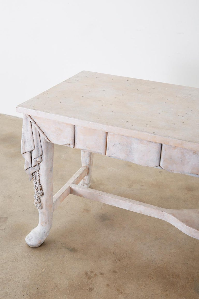 Neoclassical Style Trompe l'oeil Draped Library Table Desk For Sale 1