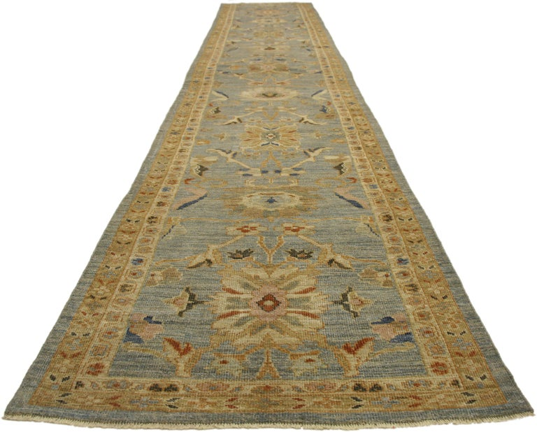 Hand-Knotted Neoclassical Style Turkish Oushak Long Runner, Extra-Long Hallway Runner For Sale
