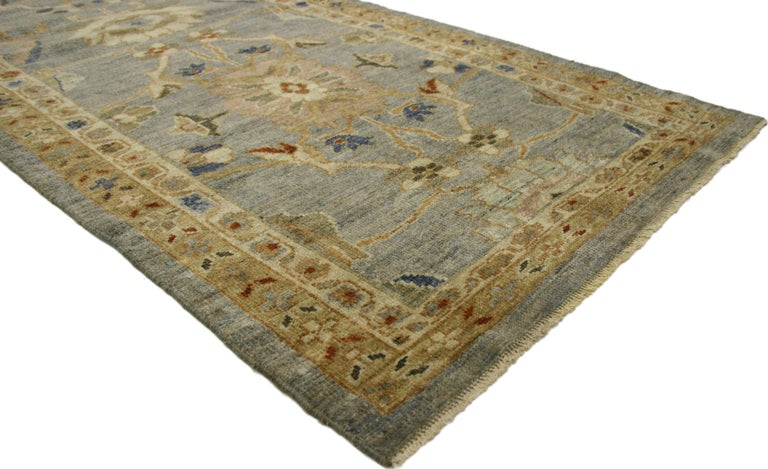 60706, Neoclassical Style Turkish Oushak Carpet Runner, Extra-Long Hallway Runner. With transitional style and harmonious hues, this modern Turkish Oushak runner is sophisticated and subtle without sacrificing elegance. The Turkish Oushak carpet