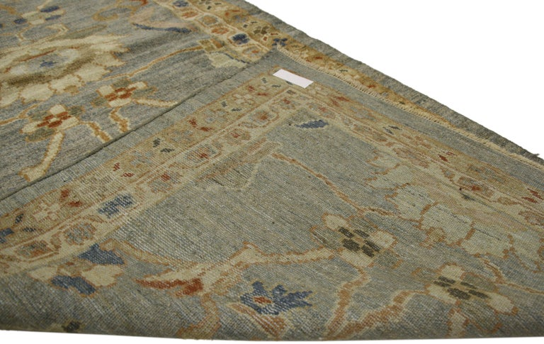 Contemporary Neoclassical Style Turkish Oushak Long Runner, Extra-Long Hallway Runner For Sale