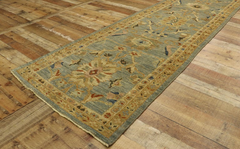 Wool Neoclassical Style Turkish Oushak Long Runner, Extra-Long Hallway Runner For Sale