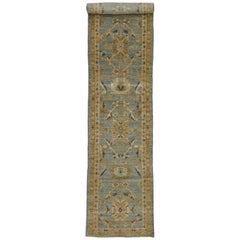 Neoclassical Style Turkish Oushak Long Runner, Extra-Long Hallway Runner
