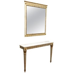Neoclassical Style Wall Console and Mirror with Greek Key Motif