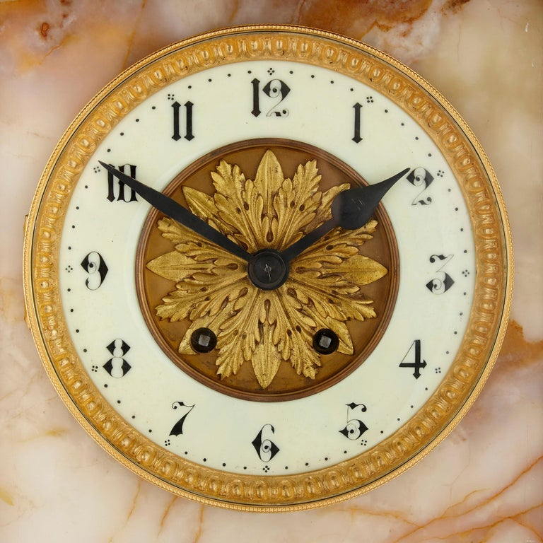 Neoclassical Style White Onyx and Gilt Bronze Pedestal Clock and Barometer In Good Condition For Sale In London, GB