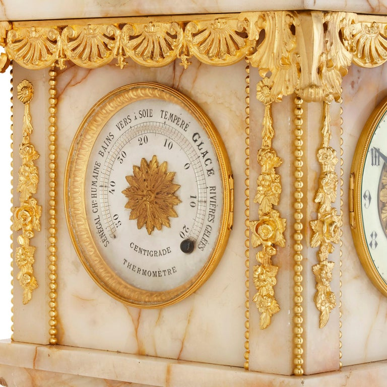 19th Century Neoclassical Style White Onyx and Gilt Bronze Pedestal Clock and Barometer For Sale