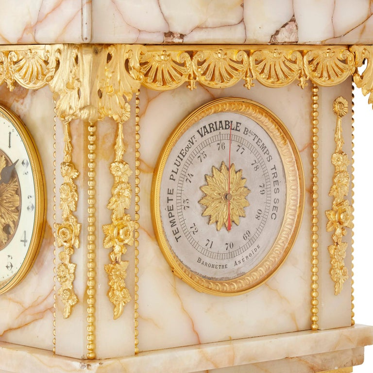Neoclassical Style White Onyx and Gilt Bronze Pedestal Clock and Barometer For Sale 1