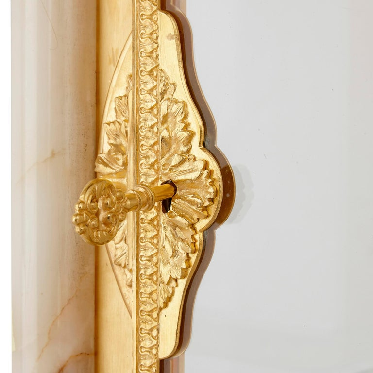 Neoclassical Style White Onyx and Gilt Bronze Pedestal Clock and Barometer For Sale 2