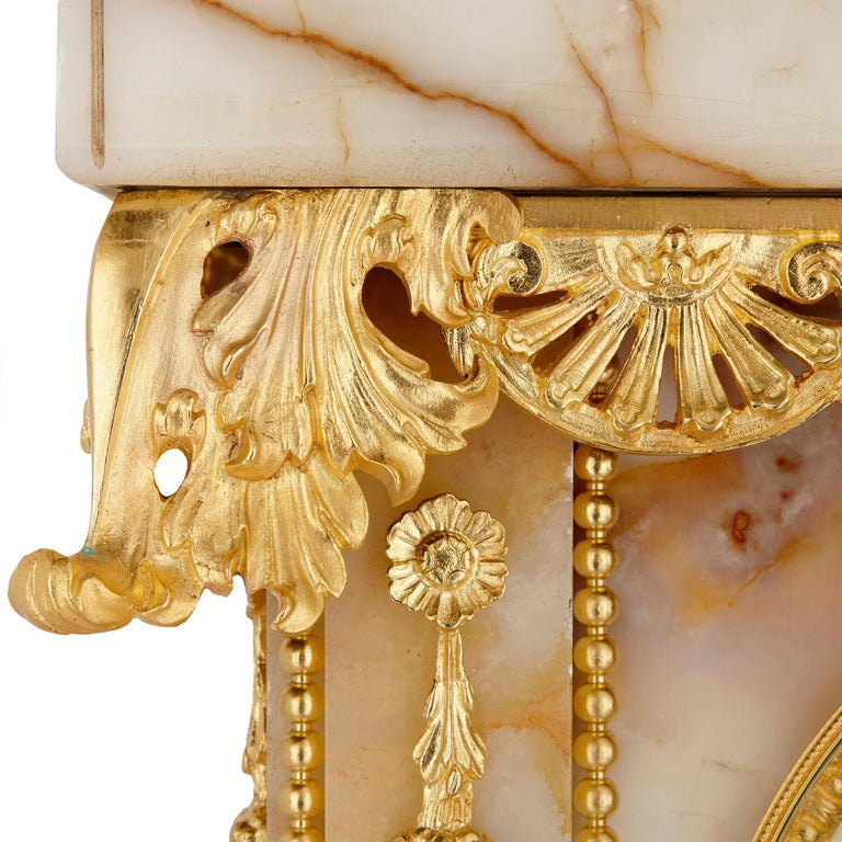 Neoclassical Style White Onyx and Gilt Bronze Pedestal Clock and Barometer For Sale 3