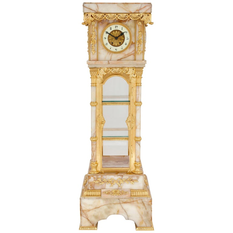Neoclassical Style White Onyx and Gilt Bronze Pedestal Clock and Barometer For Sale
