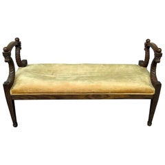 Carved Walnut Lion Carved Neoclassical Style Window Seat Bench