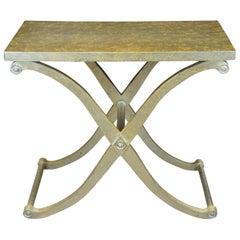 Neoclassical Style X Base Console Side Entry Table with Gold Foil Accent