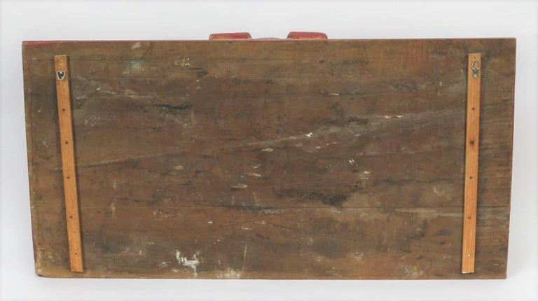 Carved Wood Architectural Polychrome Painted Overdoor Fragment Panel For Sale 7