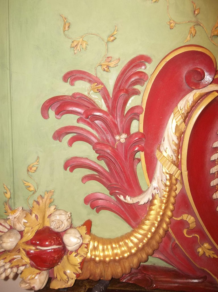 Louis XVI Neoclassical Styled Architectural Polychrome Painted Overdoor Fragment Panel For Sale