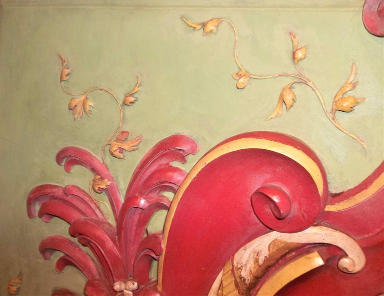 Neoclassical Styled Architectural Polychrome Painted Overdoor Fragment Panel In Good Condition For Sale In Nashville, TN