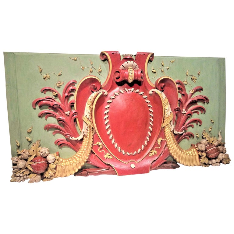 Carved Wood Architectural Polychrome Painted Overdoor Fragment Panel For Sale