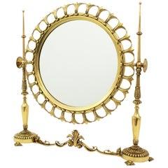 Neoclassical Sunburst Vanity or Table Mirror in Brass