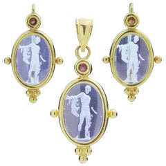 Neoclassical Tourmaline and Glass Intaglio Suite in 14 Karat Gold