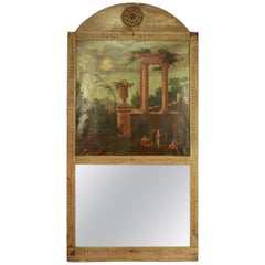 Neoclassical Trumeau Mirror with 'Capriccio' Painting