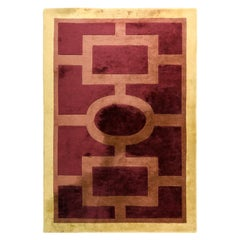 Neoclassical Tuffted Wool Rug Signed Olivier Gagnère, France, 1990