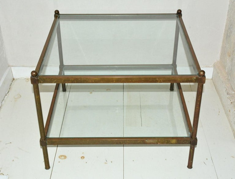 Modern Neoclassical Two-Tier Brass and Glass Coffee Table For Sale