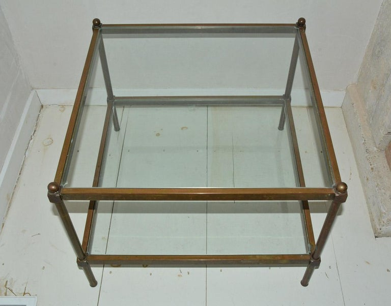 French Neoclassical Two-Tier Brass and Glass Coffee Table For Sale
