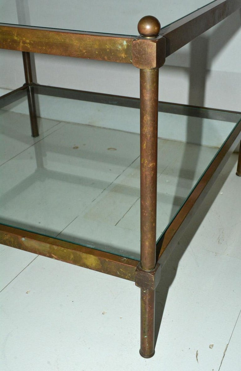 Mid-20th Century Neoclassical Two-Tier Brass and Glass Coffee Table For Sale
