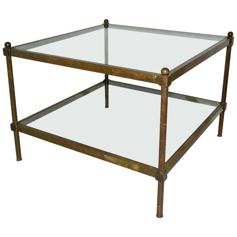 Neoclassical Two-Tier Brass and Glass Coffee Table For Sale