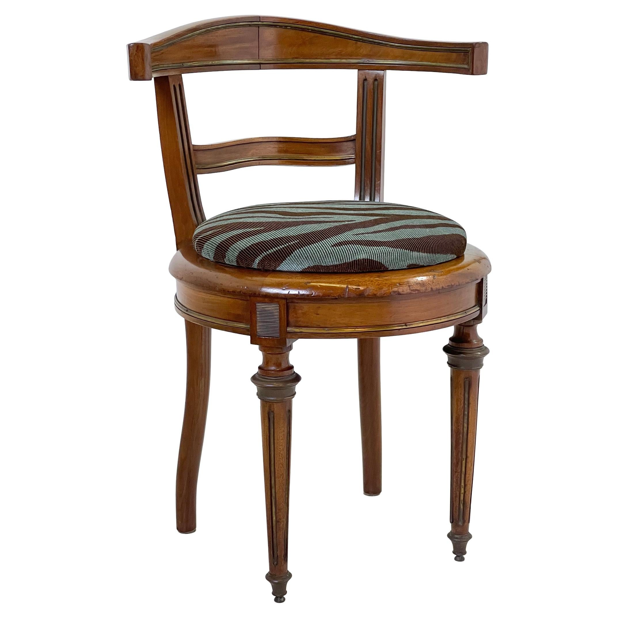 Neoclassical Vanity Chair of Walnut and Brass