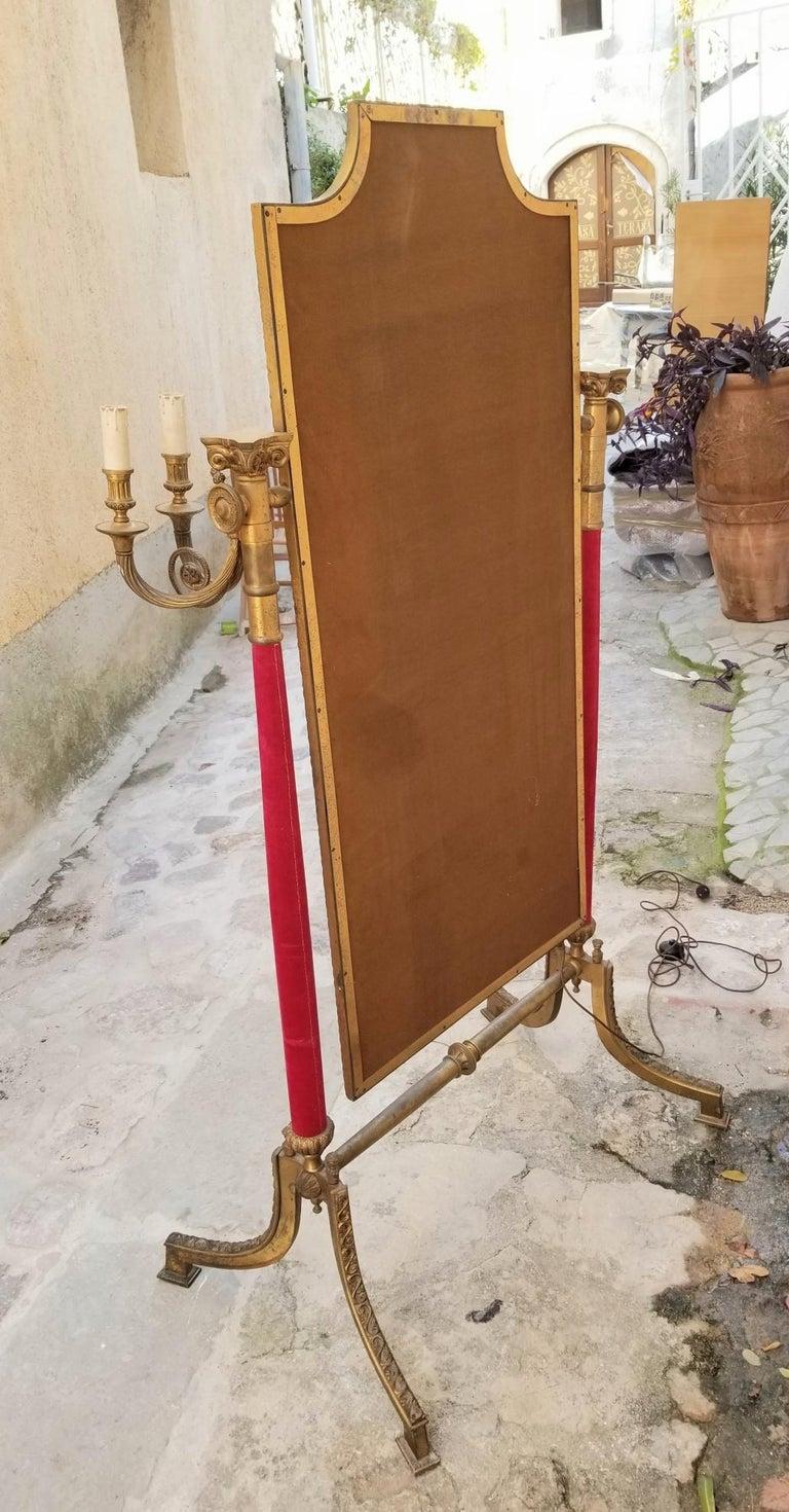 Italian Neoclassical Venetian Brass Standing Mirror For Sale