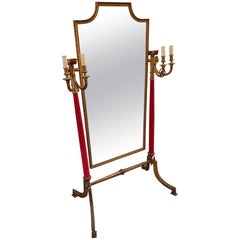 Neoclassical Venetian Brass Standing Mirror