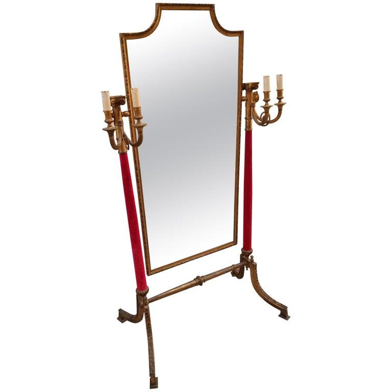 Neoclassical Venetian Brass Standing Mirror For Sale
