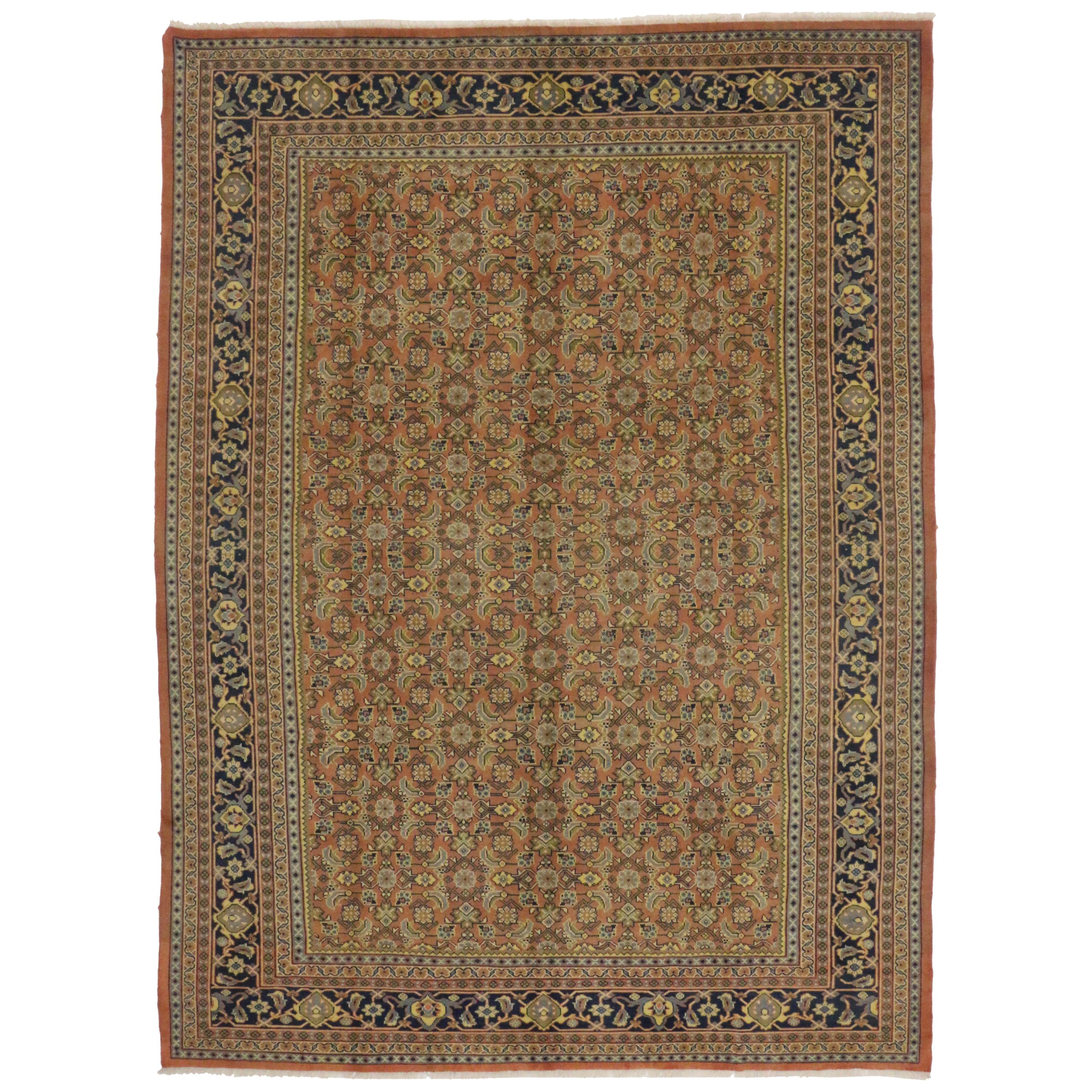 Vintage Persian Mahal Area Rug with Arts & Crafts Style