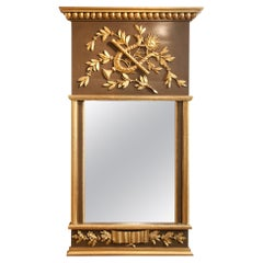 Neoclassical Wall Mirror with Gilt Lyre Ornament, France, circa 1800