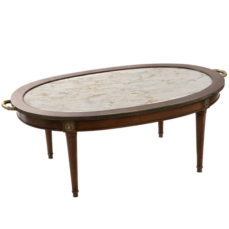 Neoclassical Walnut And Marble Inset Coffee Table For Sale At Stdibs - Walnut and marble coffee table
