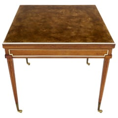 Neoclassical Walnut Gold Gilt Trim Leather Flip Top Game Dining Table Brass