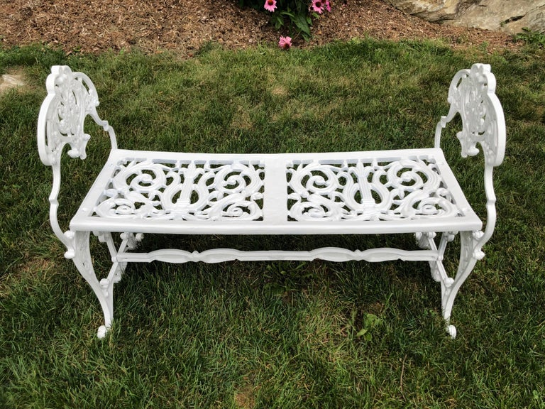 Mid-20th Century Neoclassical White Garden Bench For Sale