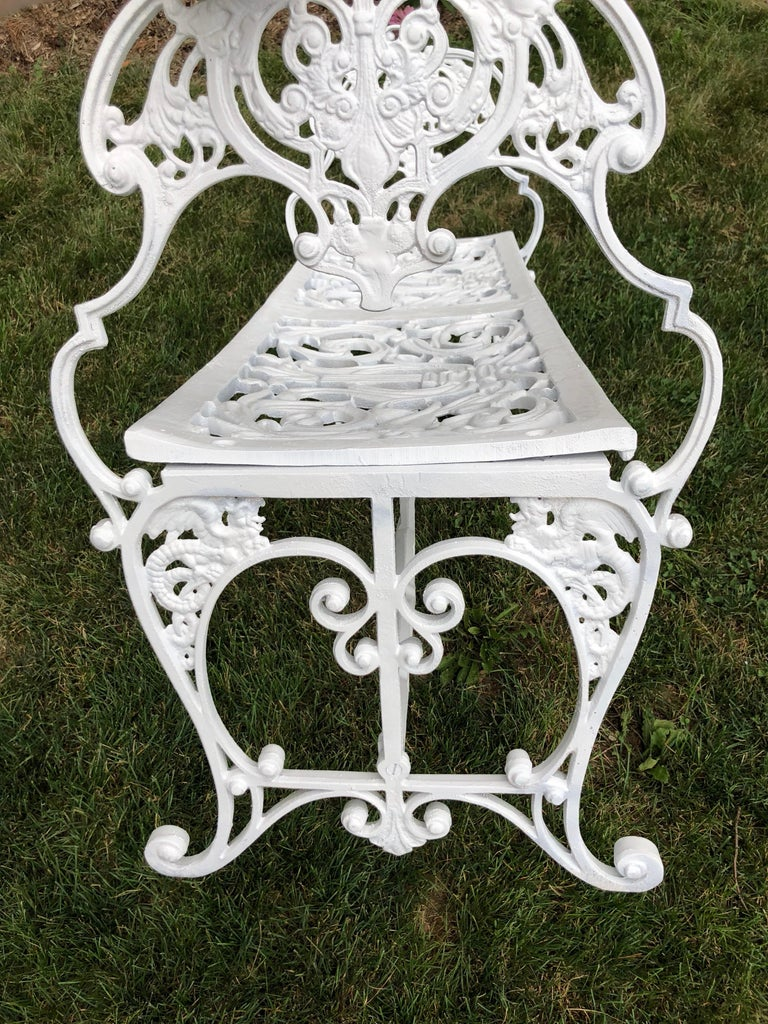 Aluminum Neoclassical White Garden Bench For Sale