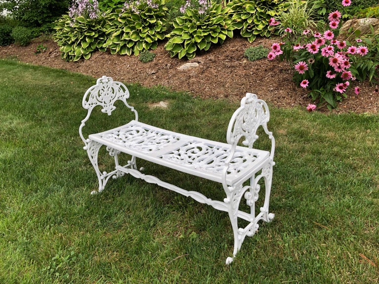 Neoclassical White Garden Bench For Sale 2