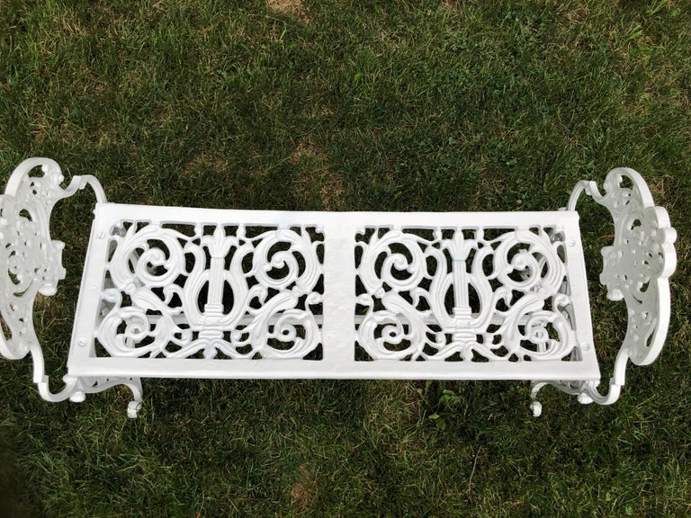 Neoclassical White Garden Bench For Sale 3