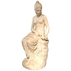 Neoclassical White Marble Sculpture of Seated Nymph, 19th Century