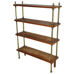 Neoclassical Wood and Brass Shelving Unit