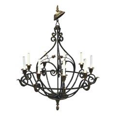 Neoclassical Wrought Iron & Brass Orb 8-Light Chandelier, by Maitland Smith
