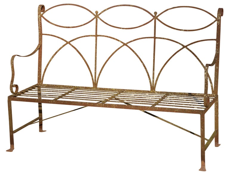 Hand-Crafted Neoclassical Wrought Iron Garden Bench Four-Seat For Sale